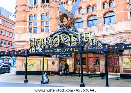 LONDON, ENGLAND - JULY 16, 2016. Front of The Harry Potter Shop  in London with large advertisement for Harry Potter and the Cursed Child.  - stock photo