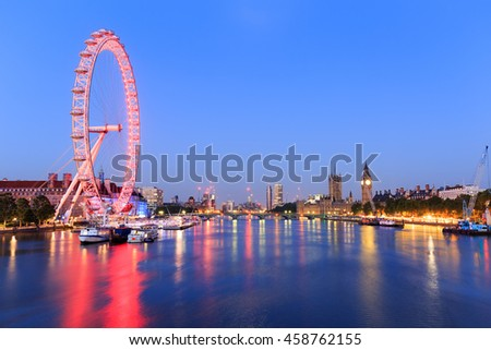 LONDON, ENGLAND - JULY 20, 2016. London by night. - stock photo