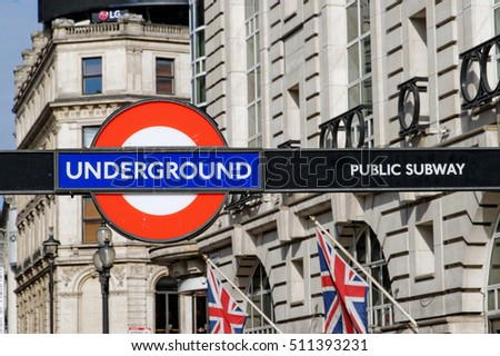 LONDON, ENGLAND - JULY 8, 2016: London Underground sign. The London Underground is the oldest underground railway in the world covering 402 km of tracks.
