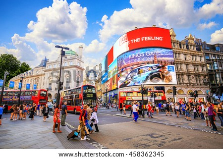 LONDON, ENGLAND - JULY 03, 2016. People and traffic in Picadilly Circus in London.A famous public space in London's West End,it was built in 1819.  - stock photo