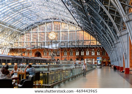 LONDON, ENGLAND - JULY 22, 2016: Platform of the St Pancras railway station, a central London railway terminus. Famous by the Eurostar services to continental Europe