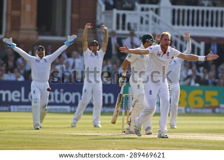 LONDON, ENGLAND - July 21 2013: Stuart Broad makes an unsuccessful appeal for a wicket  during day four of the Investec Ashes 2nd test match, at Lords Cricket Ground on July 21, 2013