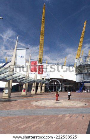LONDON, ENGLAND - JULY 15: The O2 Arena, formerly known as the Millennium Dome on July 15, 2014 in London, England - stock photo