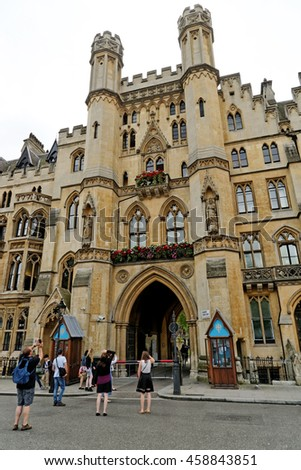 LONDON, ENGLAND - JULY 8, 2016: The Sanctuary - a medieval building once a safe place for those who were hiding from the law. This building is right next to the Westminster Abbey. - stock photo