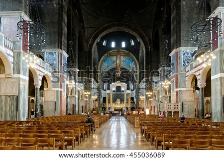 LONDON, ENGLAND - JULY 8, 2016: Westminster Cathedral interior - the seat of the Cardinal Archbishop of Westminster and the Mother Church for Roman Catholics in England and Wales. - stock photo