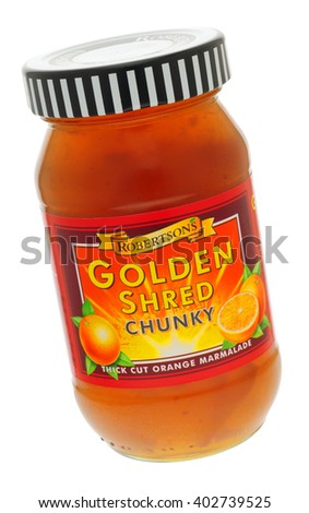 London, England - June 09, 2010: Jar of Robertson's Golden Shred Chunky Marmalade, Robertsons was founded by James Robertson in 1864. - stock photo