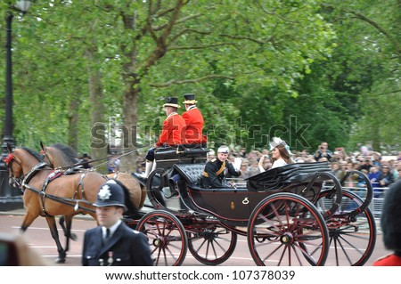 LONDON, ENGLAND - JUNE 16: Prince William and Kate Middleton during Queen Elizabeth's Birthday Parade, on June 16, 2012 in London, England - stock photo