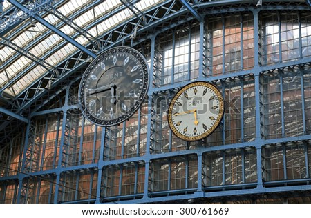 LONDON,ENGLAND - JUNE:  St. Pancras Station on June 1, 2015 in London, England.  The St. Pancras Station is the main train terminal for Eurostar train departures from London to the European continent. - stock photo