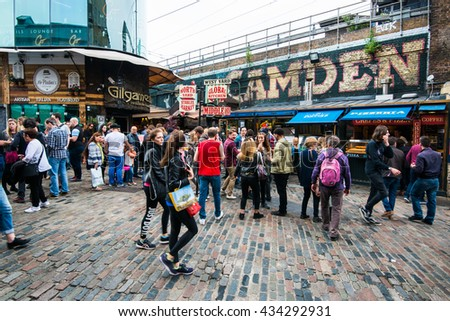 London, England - June 04,2016: The Camden Market on June 04,2016 in London, England. Camden is the fourth most popular visitor attraction in London. - stock photo