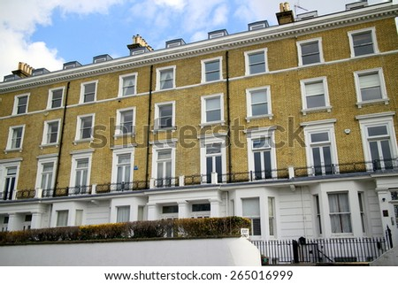 London, England - March 24, 2015: Luxury Terraced houses in Richmond, London. Richmond is the 8th largest London borough by area and in the top five for highest average property values in London