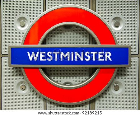 LONDON, ENGLAND - MARCH 15: Underground Westminster tube station in London on March 15, 2011. The London Underground is the oldest underground railway in the world covering 402 km of tracks. - stock photo