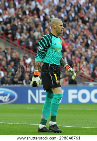 LONDON, ENGLAND. May 28 2011: Barcelona's goalkeeper Victor Valdes during the 2011UEFA Champions League final between Manchester United and FC Barcelona, at Wembley Stadium - stock photo