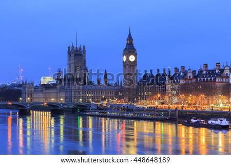LONDON, ENGLAND - May 14, 2016: Big Ben and the Palace of Westminster at night in London, UK.  - stock photo