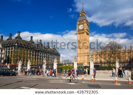 LONDON, ENGLAND - May 14, 2016: Big Ben and the Palace of Westminster in London, UK. The Palace of Westminster commonly known as the Houses of Parliament is the home of the Parliament of England. - stock photo