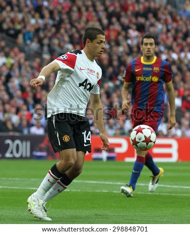 LONDON, ENGLAND. May 28 2011: Manchester's forward Javier Hernandez during the 2011UEFA Champions League final between Manchester United and FC Barcelona - stock photo