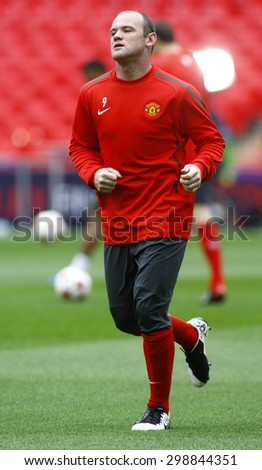 LONDON, ENGLAND. May 27 2011:  Manchester's forward Wayne Rooney during the official training session for the 2011UEFA Champions League final between Manchester United and FC Barcelona - stock photo