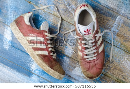 London, England - May 08, 2015: Pair of Adidas Gazelle Tennis Trainers, Adidas are a German Sports manufacturer founded in 1924