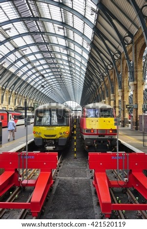 LONDON, ENGLAND -14 MAY 2016- The Kings Cross train Station in central London.Virgin Trains is the main operator out of this railway station.