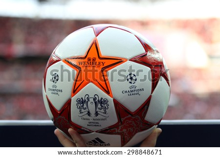 LONDON, ENGLAND. May 28 2011: The Match ball for the 2011UEFA Champions League final between Manchester United and FC Barcelona, at Wembley Stadium - stock photo