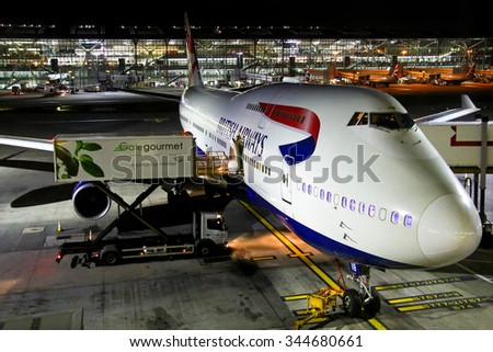 LONDON, ENGLAND - NOVEMBER 12, 2015: British Airways Boeing 747 at the Heathrow International Airport. - stock photo