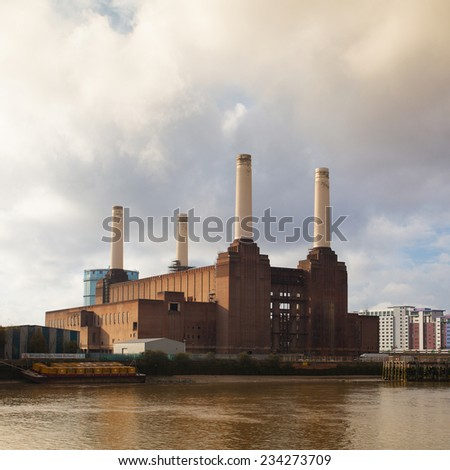 London,England - November 11,2011:Famous Battersea Power Station.The power station will be transformed in a shopping center.