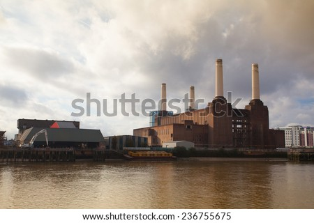 London,England November 11,2011:Famous Battersea Power Station.The power station will be transformed in a shopping center. - stock photo