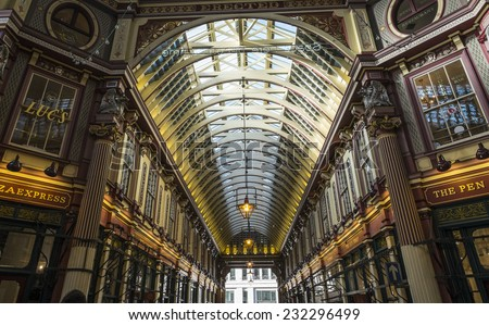 London, England - November 4th 2104 - Leadenhall Market in the City of London - stock photo