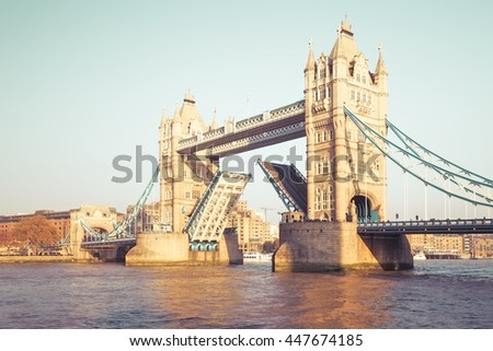LONDON, ENGLAND - NOVEMBER 01, 2015. Tower Bridge is a combined bascule and suspension bridge in London built in 1886â??1894 and has become an iconic symbol of London.    - stock photo
