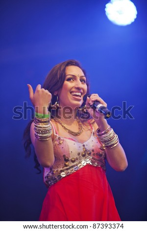 LONDON, ENGLAND - OCTOBER 16: Celebrity Indian singer Shivali Brammer performs live on stage at the Diwali Festival of Light in Trafalgar Square on October 16, 2011 in London, England. - stock photo