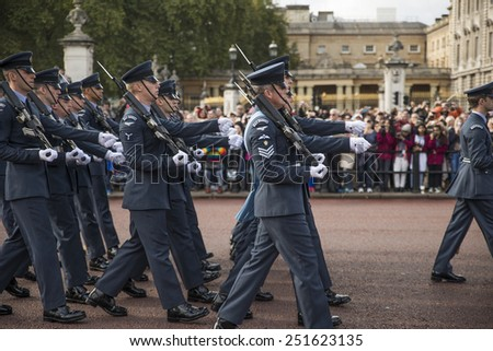 London, England - October 10, 2014: Marching band in London - stock photo
