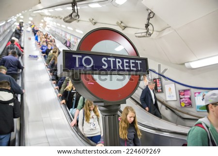 London, England - October 15: View of the London Underground sign in London, England on October 15, 2014. - stock photo