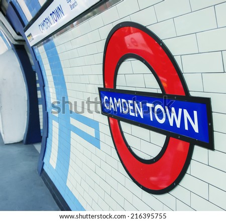 LONDON, ENGLAND - SEP 30: Underground Camden Town tube station in London on September 30, 2012. The London Underground is the oldest underground railway in the world covering 402 km of tracks - stock photo