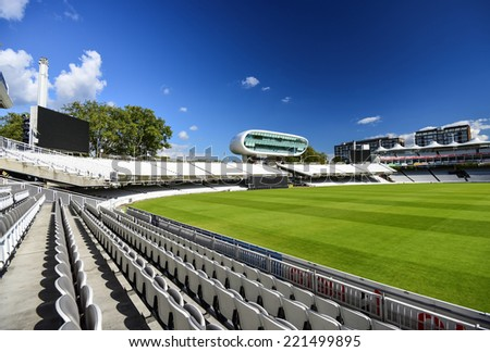 LONDON, ENGLAND - SEPTEMBER 24: Lord's Cricket Ground in London, England, on September 24, 2014. It is referred to as the home of cricket and is home to the world's oldest cricket museum. - stock photo