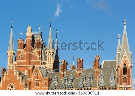 LONDON, ENGLAND - SEPTEMBER 24: St Pancras Railway Station rooftop on September 24 2014 in London, England. - stock photo