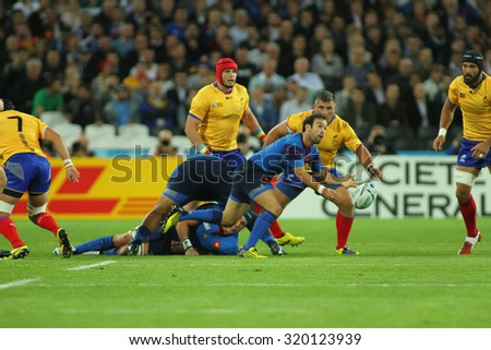 LONDON, ENGLAND - SEPTEMBER 23 2015 The 2015 Rugby World Cup Pool D match between France and Romania at The Stadium, Queen Elizabeth Olympic Park.