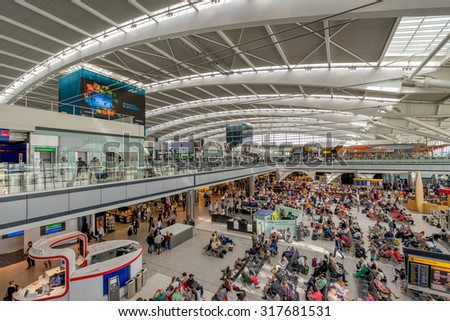 London, England, 1st Sept 2015: Heathrow Terminal 5 is an airport terminal at Heathrow Airport. Opened in 2008, the main building in the complex is the largest free-standing structure in the UK  - stock photo
