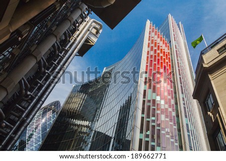 London, England - 20th June: Buildings in London's finical District. (The Willis Building, Lloyds of London and the Gherkin) on 30 June 2013.  - stock photo