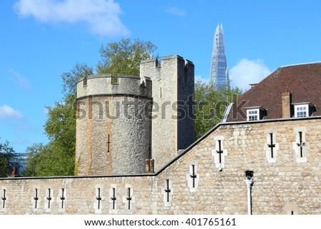 London, England - Tower of London. UNESCO World Heritage Site. - stock photo
