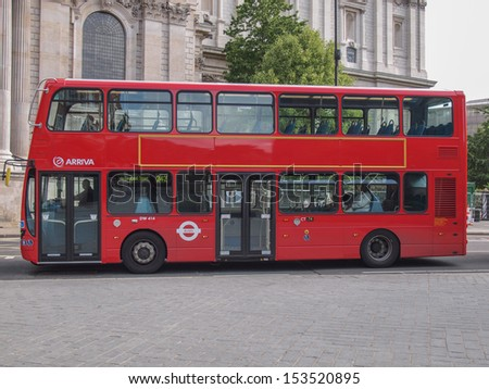 LONDON, ENGLAND, UK - JUNE 18: Traditional double decker red bus on June 18, 2011 in London, England, UK - stock photo