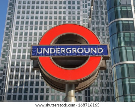 LONDON, ENGLAND, UK - MARCH 05, 2009: Iconic London Underground sign known as the Roundel designed by Edward Johnston in 1917 - stock photo