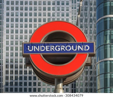 LONDON, ENGLAND, UK - MARCH 05, 2009: Iconic London Underground sign known as the Roundel designed by Edward Johnston in 1917
