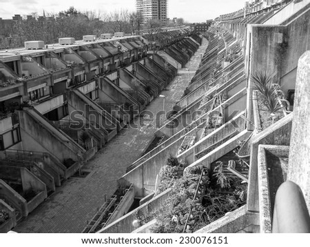 LONDON, ENGLAND, UK - MARCH 07, 2008: The Alexandra Road estate designed in 1968 by Neave Brown applies the terraced house model to high-density public housing