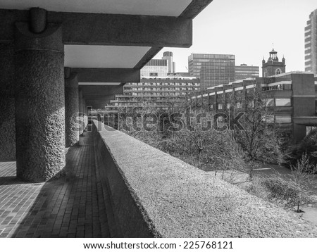 LONDON, ENGLAND, UK - MARCH 07, 2008: The Barbican Complex built in the sixties and seventies is a Grade II listed masterpiece of new brutalist architecture