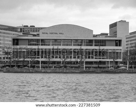 LONDON, ENGLAND, UK - MARCH 06, 2008: The Royal Festival Hall built as part of the Festival of Britain national celebrations in 1951 is still in use as a major music and entertainment venue - stock photo