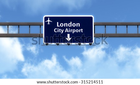 London England United Kingdom Airport Highway Road Sign 3D Illustration