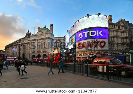 London. Evening scene at Piccadilly Circus - stock photo
