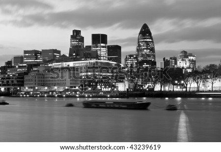 London, evening skyline in Black and White - stock photo
