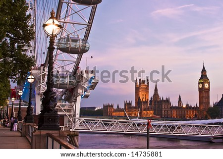 London eye and big ben at night - stock photo