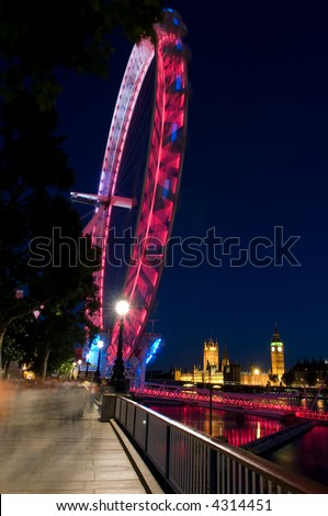 London eye and houses of parliament - stock photo