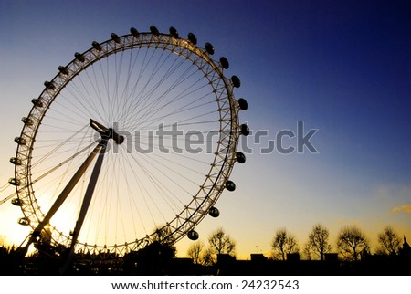 London Eye at sunset - stock photo
